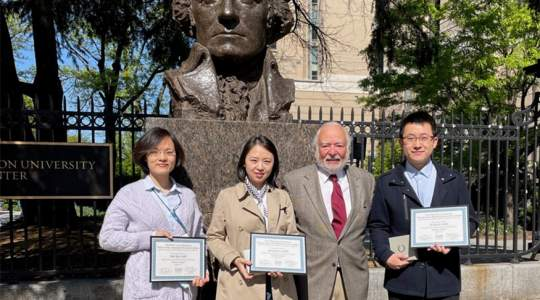 From left to right: Drs. Wei Tan (Runner-Up, Pei Lab), Zhuqing Li (First Place, Zhu Lab), Allan Goldstein, and Yi Zhang (Runner-Up, Zhu Lab)