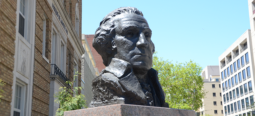 George Washington bust in front of hospital