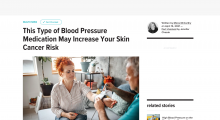 """Preview of article on healthline.com, """"This type of blood pressure medication may increase your skin cancer risk"""""""