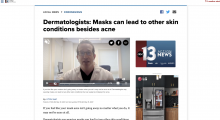 Preview of article on ktnv.com titled, 'Dermatologists: Masks can lead to other skin conditions...'