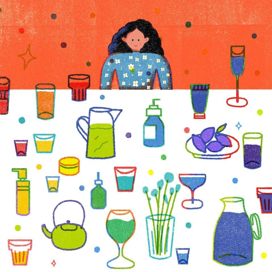 Illustration with woman and drink options