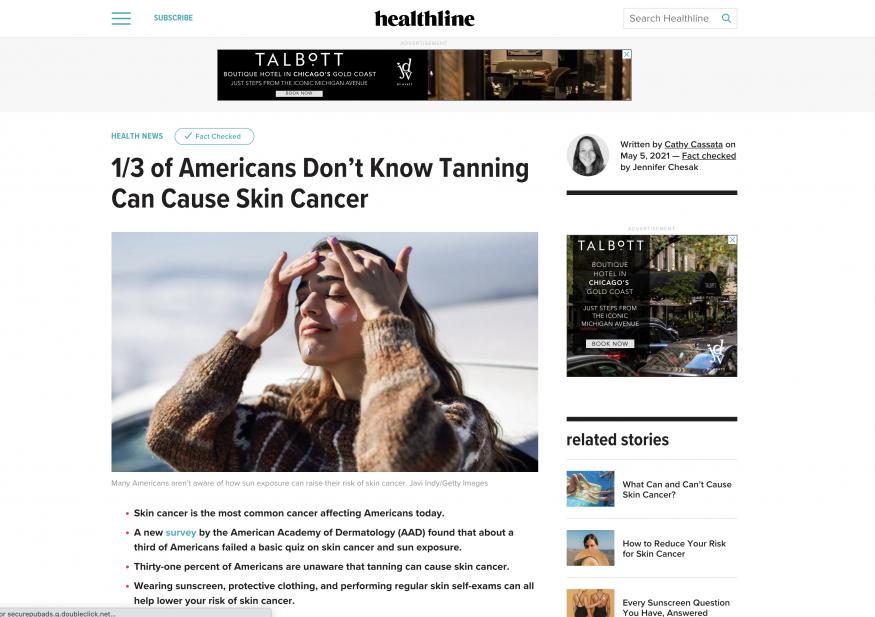 preview of article on healthline.com, '1/3 of Americans Don't Know Tanning Can Cause Skin Cancer'