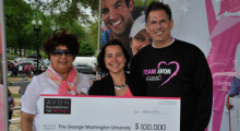 GW Cancer Institute members with oversized check