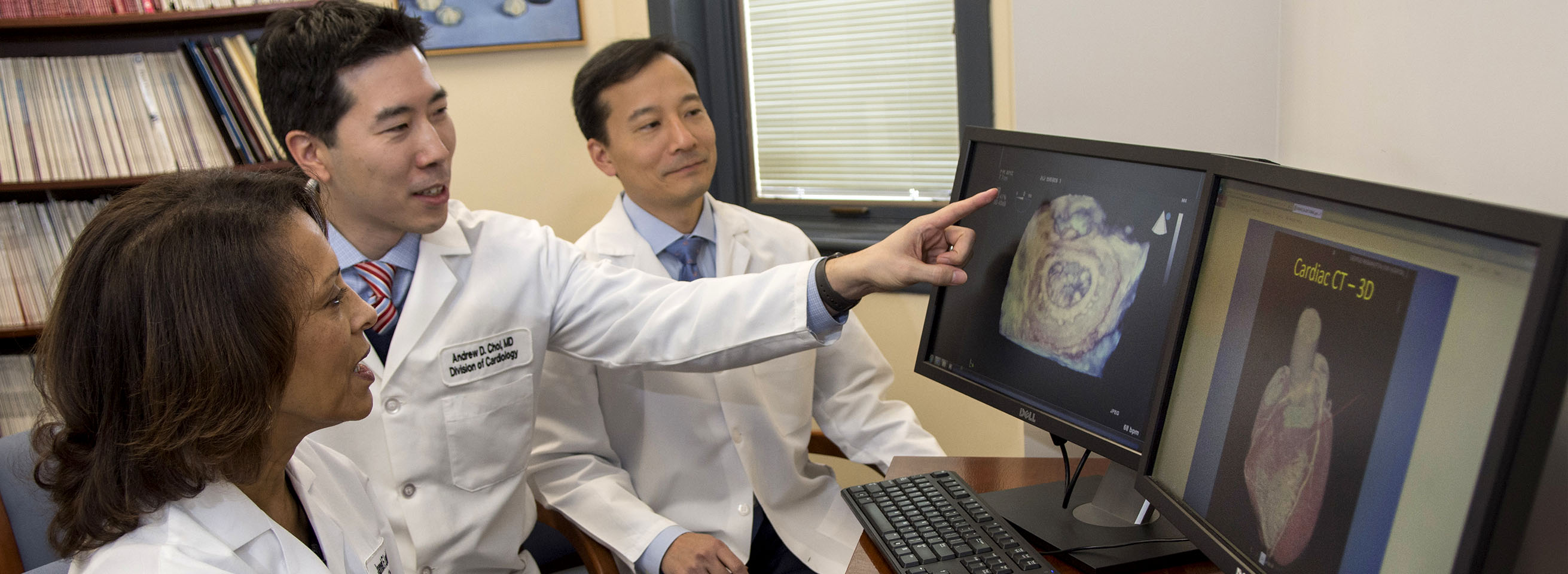 Cardiologists studying CT scan