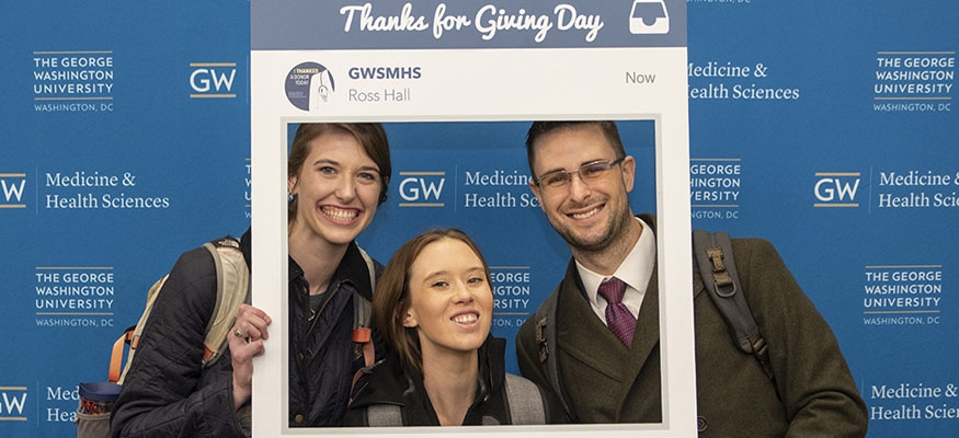 GW medical students in instagram border cutout thanking you for your support
