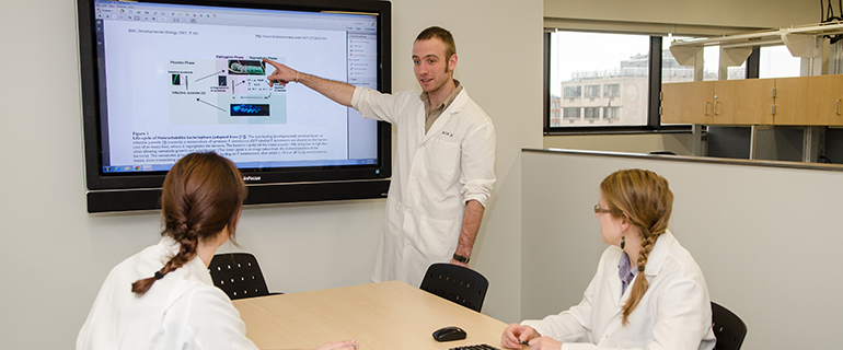 image of student presentation on digital screen