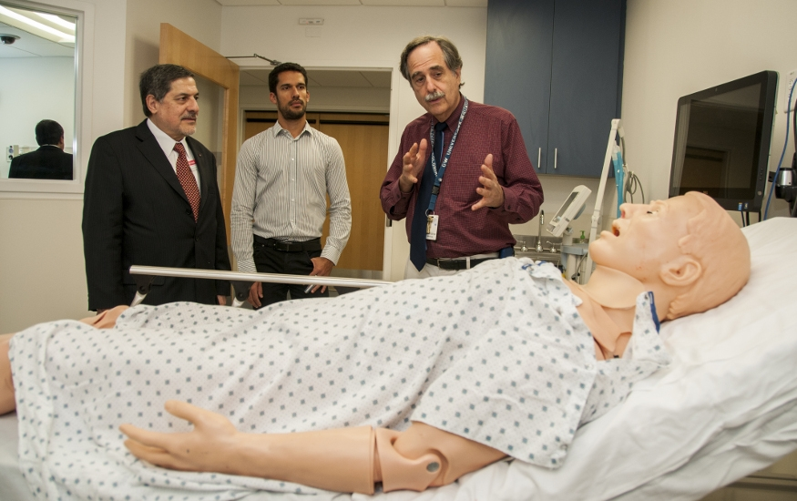 Dr. Blatt explains the training facilities at the SMHS Clinical Learning and Simulation Skills Center