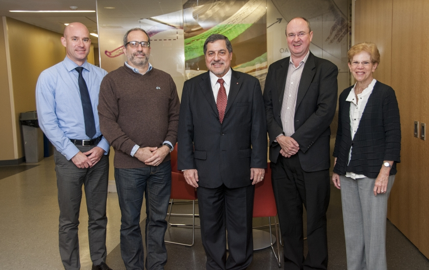 Visit of Dr. Ernesto Bustamante, director of the Peruvian National Institute of Health (center), with Dr. David Diemert, Dr. Jeffrey Bethony, Dr. Douglas Nixon and Dr. Sylvia Silver (from left to right)