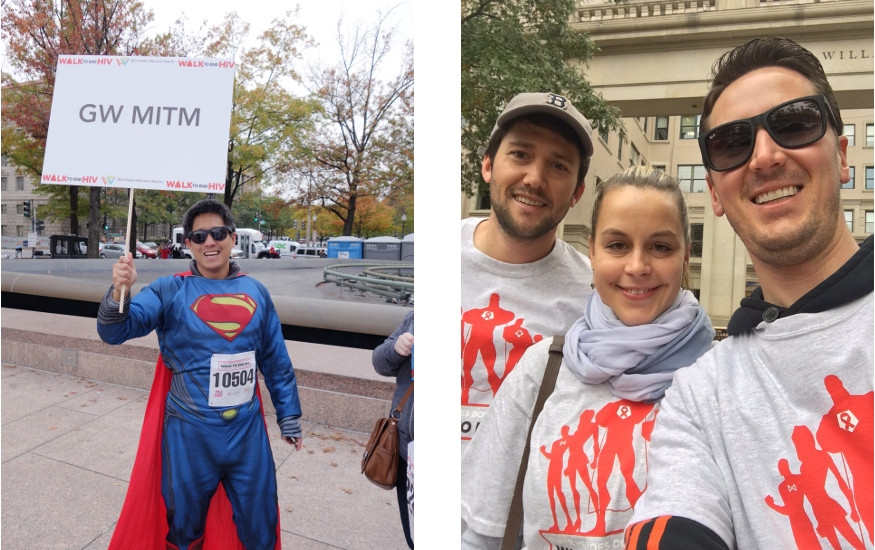 """HIV walk attendees - """"Superheroes don't fly, the walk to end HIV"""""""