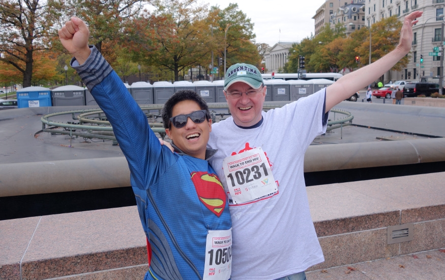 HIV Walk attendees; one dressed as superman
