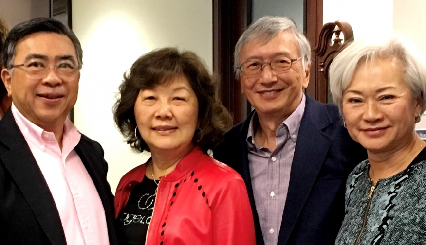 From left: Patrick Sung, PhD, JD '77, Marguerite Sung,  John Pan, MD '70, RESD '74, and Katharine Pan, MA '77.