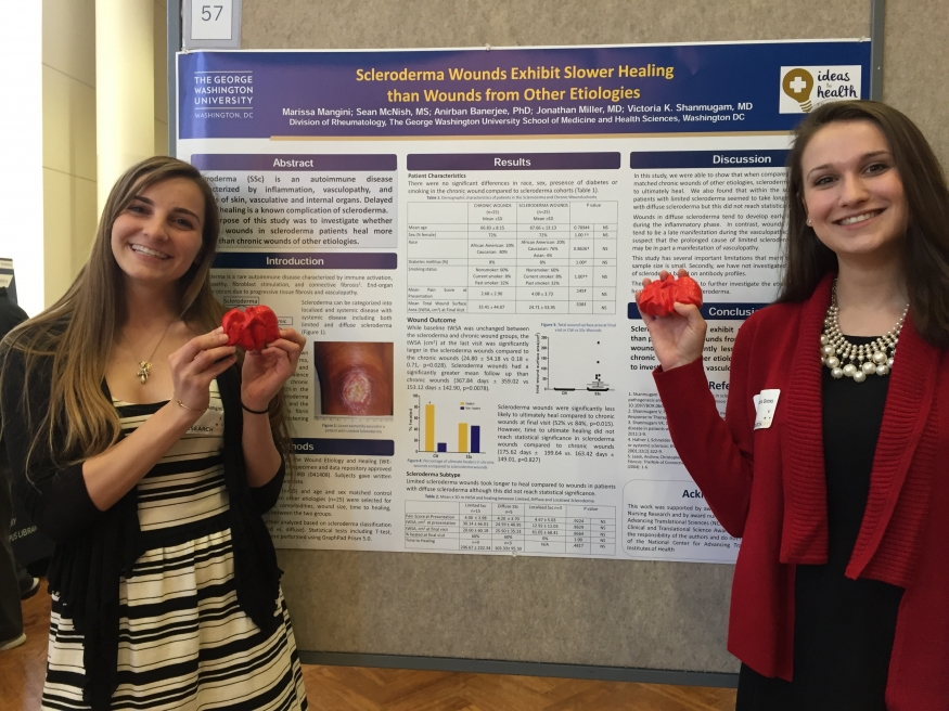 Marissa Mangini and Alexandra Gross present their undergraduate research projects at GW Research Day 2016