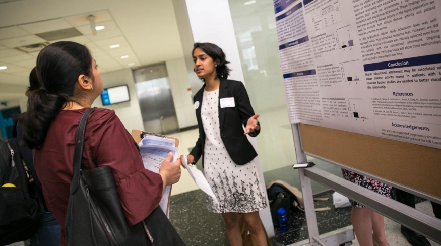 Kanchan Misra presents their undergraduate research projects at GW Research Day 2019