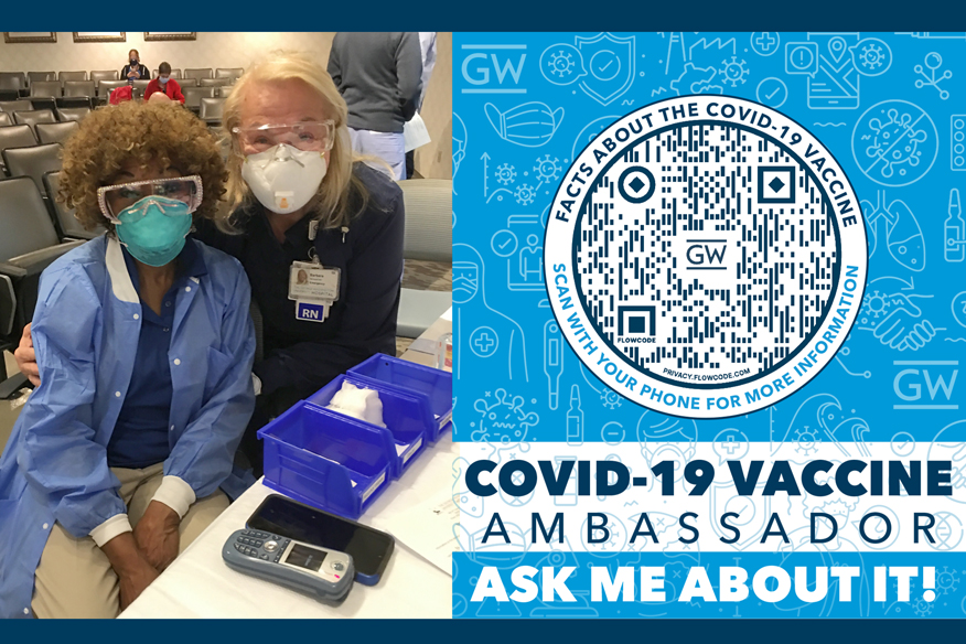 Audrey Mason, Barbara Neiswander, RN, and the Vaccine Ambassador badge