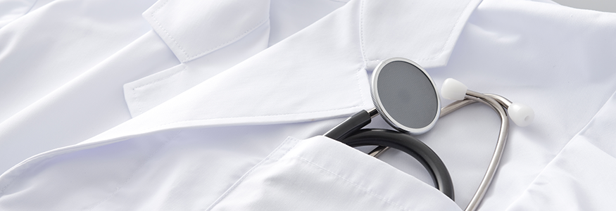 Stethoscope in white coat pocket