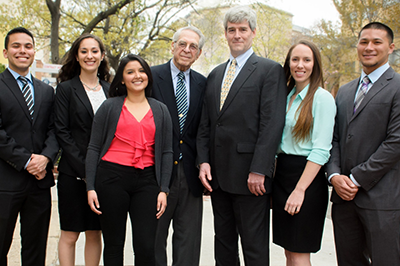 Sheldon Cohen and Tom Flynn (center) with all five Flynn scholarship recipients