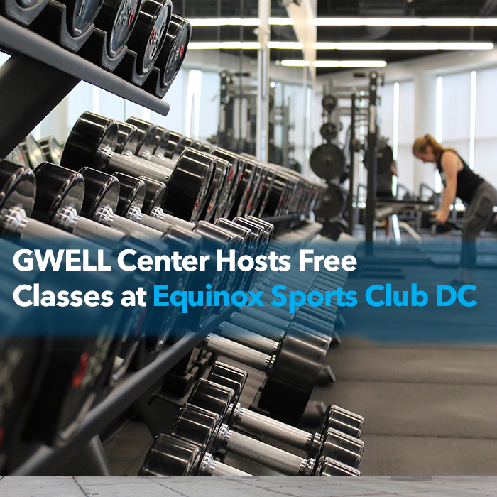 Gwell Center Event Banner woman in the gym