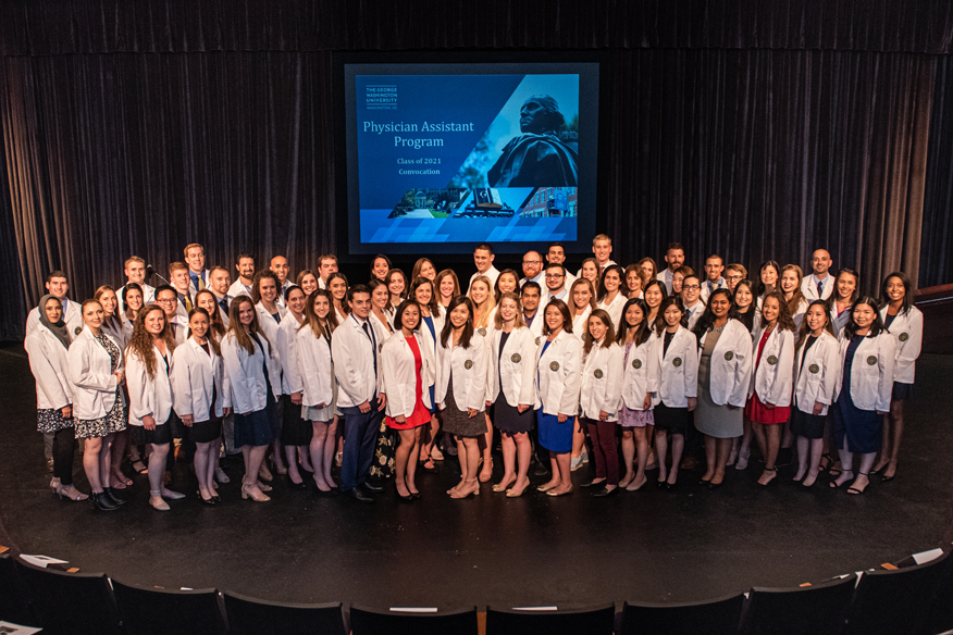 Incoming class of Physician Assistant students don their white coats.