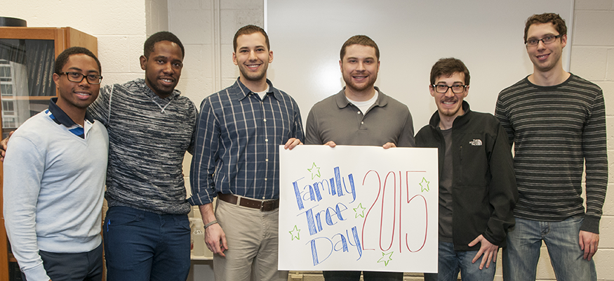 Students pose at family tree day