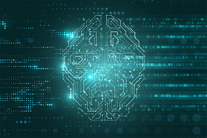 Illustration of a brain using binary code imagery and DNA imagery
