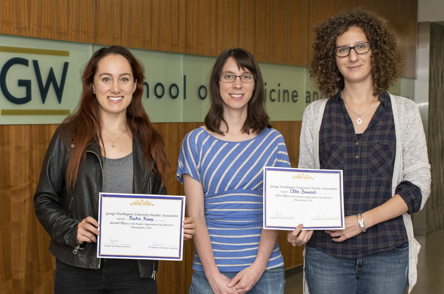 2018 Postdoc Appreciation Day research competition winners Rachel Resop, Sarah Jaumann, and Chloe Bouarab.