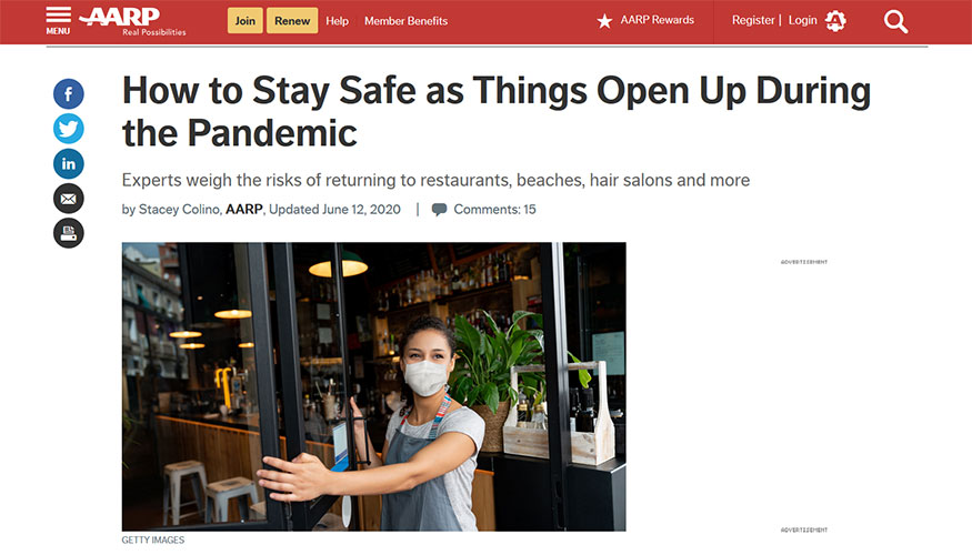 AARP - How to Stay Safe as Things Open Up During the Pandemic