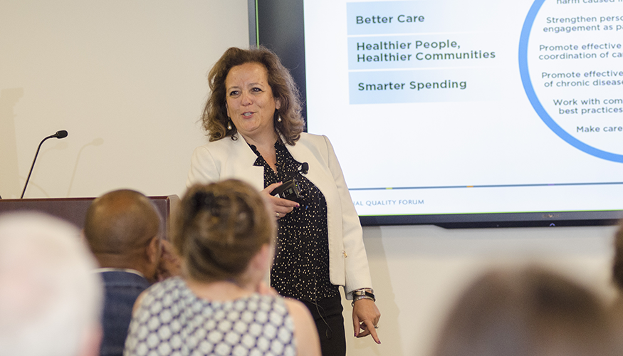 Helen Burstin, MD, MPH, FACP, lectured to faculty and students in the Department of Clinical Research and Leadership