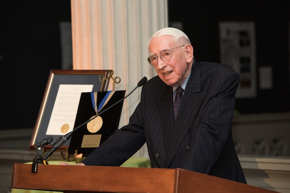 Luther W. Brady, pictured at a ceremony in May 2015 when he received the university President's Medal.