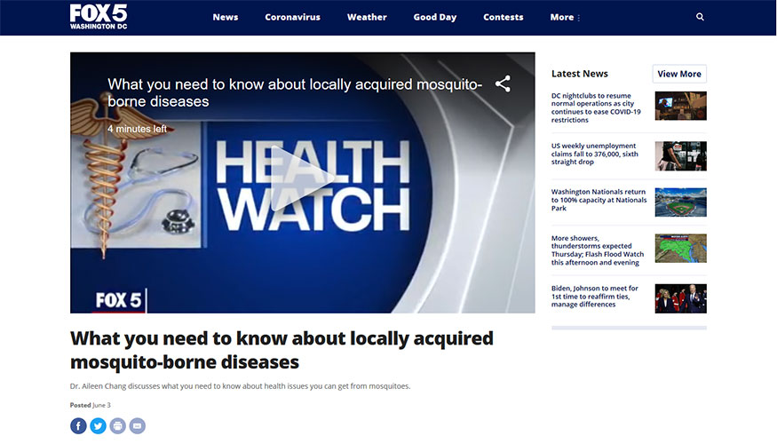 FOX5 - What You Need to Know About Locally Acquired Mosquito-Borne Diseases