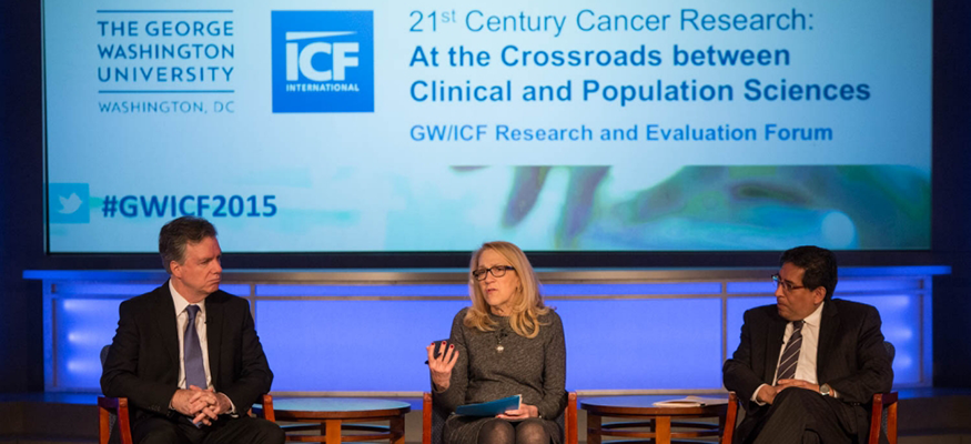 ICF International Panel: Robert Croyle, Ph.D., Lynn Goldman, M.D., M.P.H., and Eduardo Sotomayor, M.D.