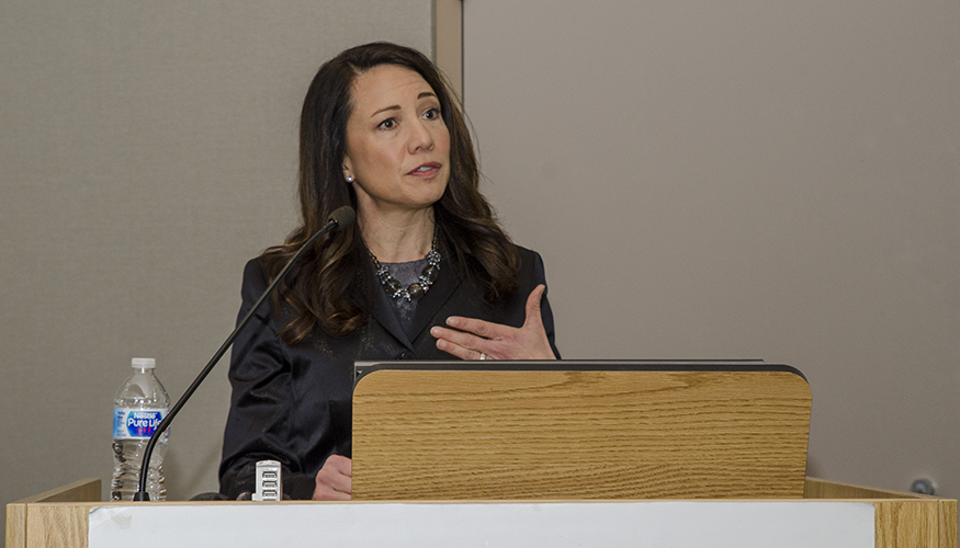 Christine Moutier, MD, delivered the 24th Annual Seymour Perlin, MD, Grand Rounds lecture