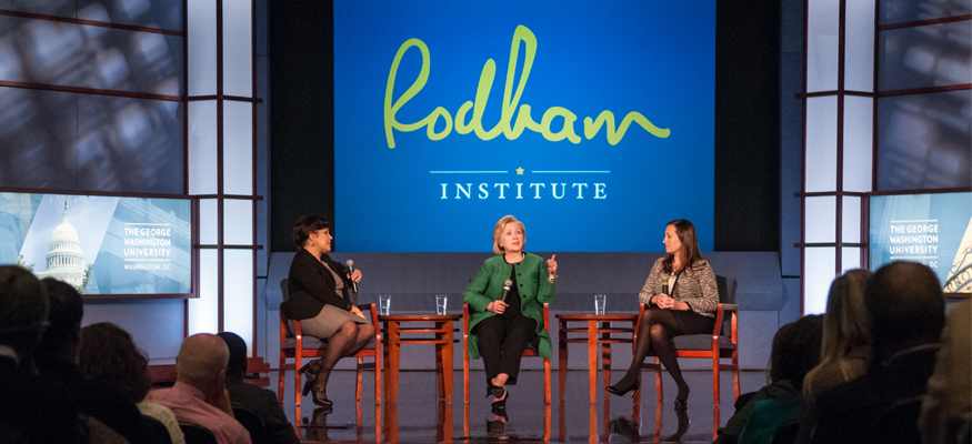 From left to right: Jehan El-Bayoumi, M.D.; Hillary Rodham Clinton; and Rain Henderson