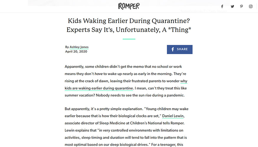 Romper - Kids Waking Earlier During Quarantine? Experts Say It's, Unfortunately, A Thing
