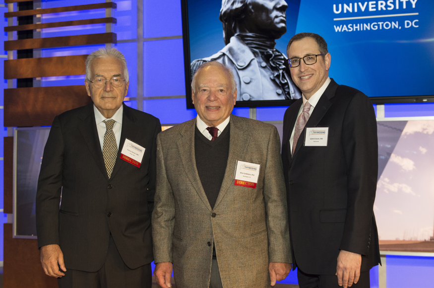 Enrico Garaci, MD; Allan Goldstein, PhD; and Gabriel Sosne, MD, at the Fifth International Symposium on Thymosins in Health and Disease