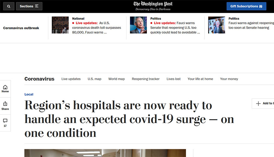 The Washington Post Region S Hospitals Are Now Ready To Handle An Expected Covid 19 Surge On One Condition The School Of Medicine Health Sciences