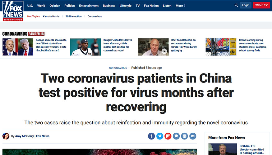 Fox News - Two Coronavirus Patients in China Test Positive for Virus Months After Recovering