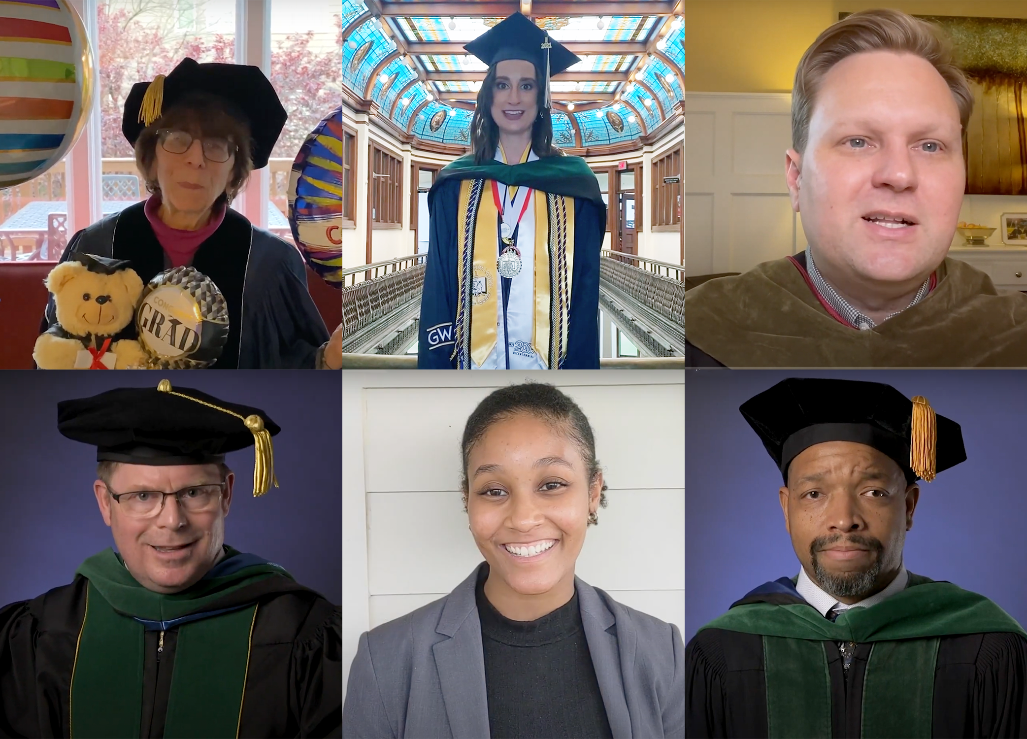 Collection of six speakers from the virtual health sciences graduation ceremony