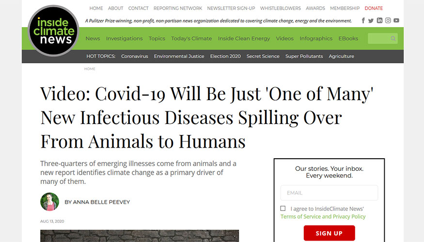 InsideClimate News - Covid-19 Will Be Just 'One of Many' New Infectious Diseases Spilling Over From Animals to Humans