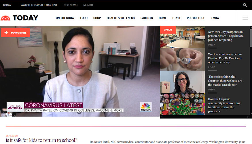 Today Show - Is It Safe for Kids to Return to School? Dr. Kavita Patel Discusses