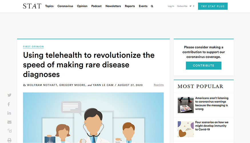 STAT - Using Telehealth to Revolutionize the Speed of Making Rare Disease Diagnoses