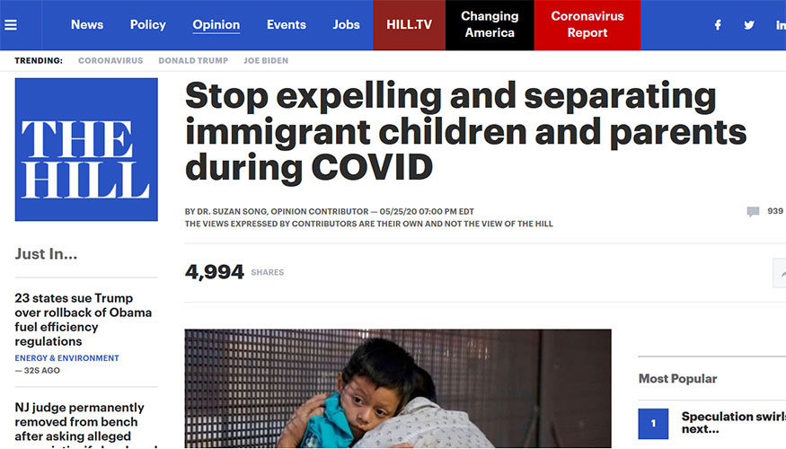 The Hill - Stop Expelling and Separating Immigrant Children and Parents During COVID