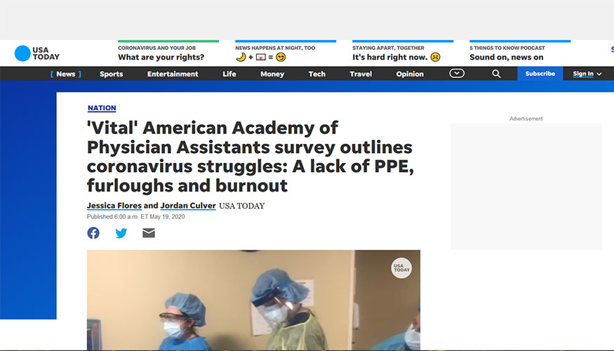 USA Today - 'Vital' American Academy of Physician Assistants survey outlines coronavirus struggles