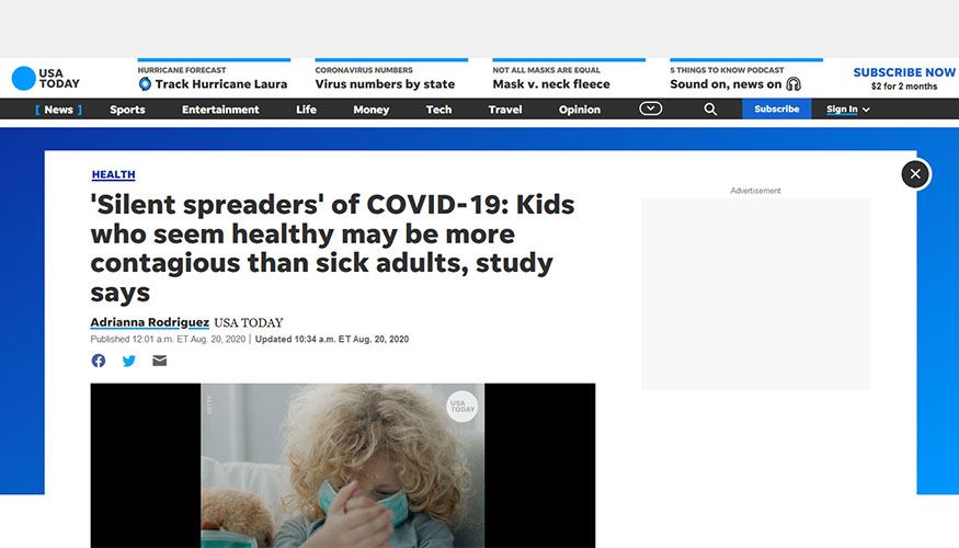 Usa Today Silent Spreaders Of Covid 19 Kids Who Seem Healthy May Be More Contagious Than Sick Adults Study Says The School Of Medicine Health Sciences