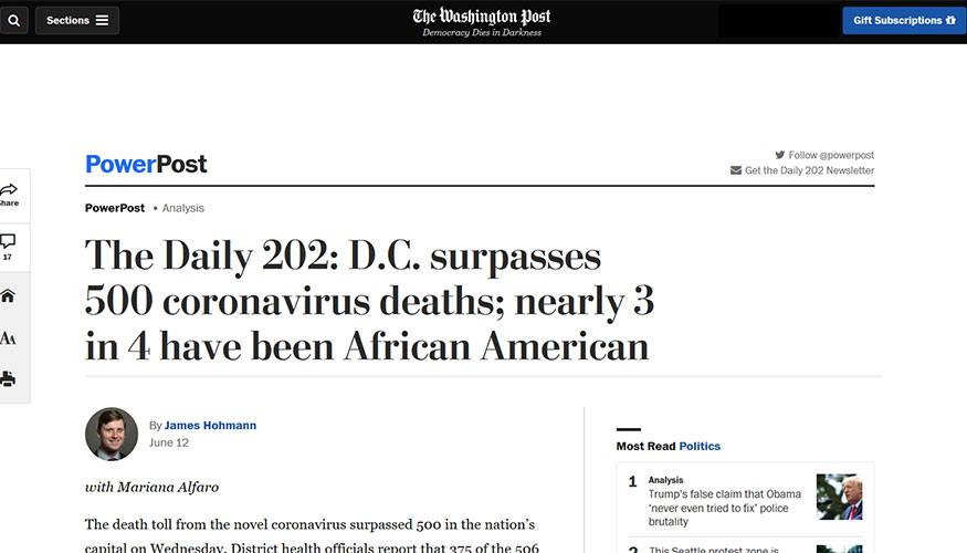 The Washington Post - D.C. Surpasses 500 Coronavirus Deaths; Nearly 3 in 4 Have Been African American