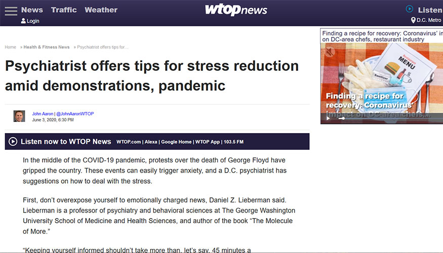 WTOP - Psychiatrist Offers Tips for Stress Reduction Amid Demonstrations, Pandemic