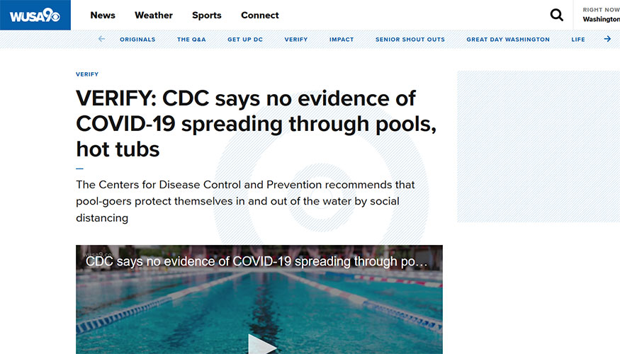 WUSA9 - CDC Says No Evidence of COVID-19 Spreading Through Pools, Hot Tubs