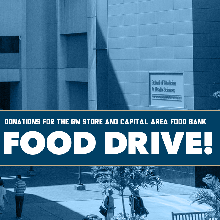 Donations for The GW Store and Capital Area Food Bank - Food Drive Event Banner