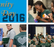 A collage of SMHS students participating in Community Service Day activities.