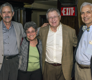 Early faculty members of the Primary Care Residency Program, Greg Pawlson, M.D., M.P.H., Gail Povar, M.D., Robert Berenson, M.D., and Alan Stone, M.D., celebrated the 40th anniversary of the program