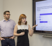Fourth-year medical students present their project on sexual assault training for providers.